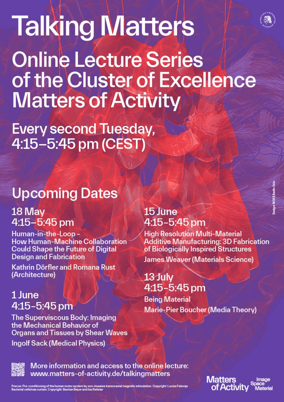 Poster Online Lecture Series »Talking Matters«, Copyright: Lucius Fekonja, Bastian Beyer, Iva Rešetar, adapted by NODE Berlin