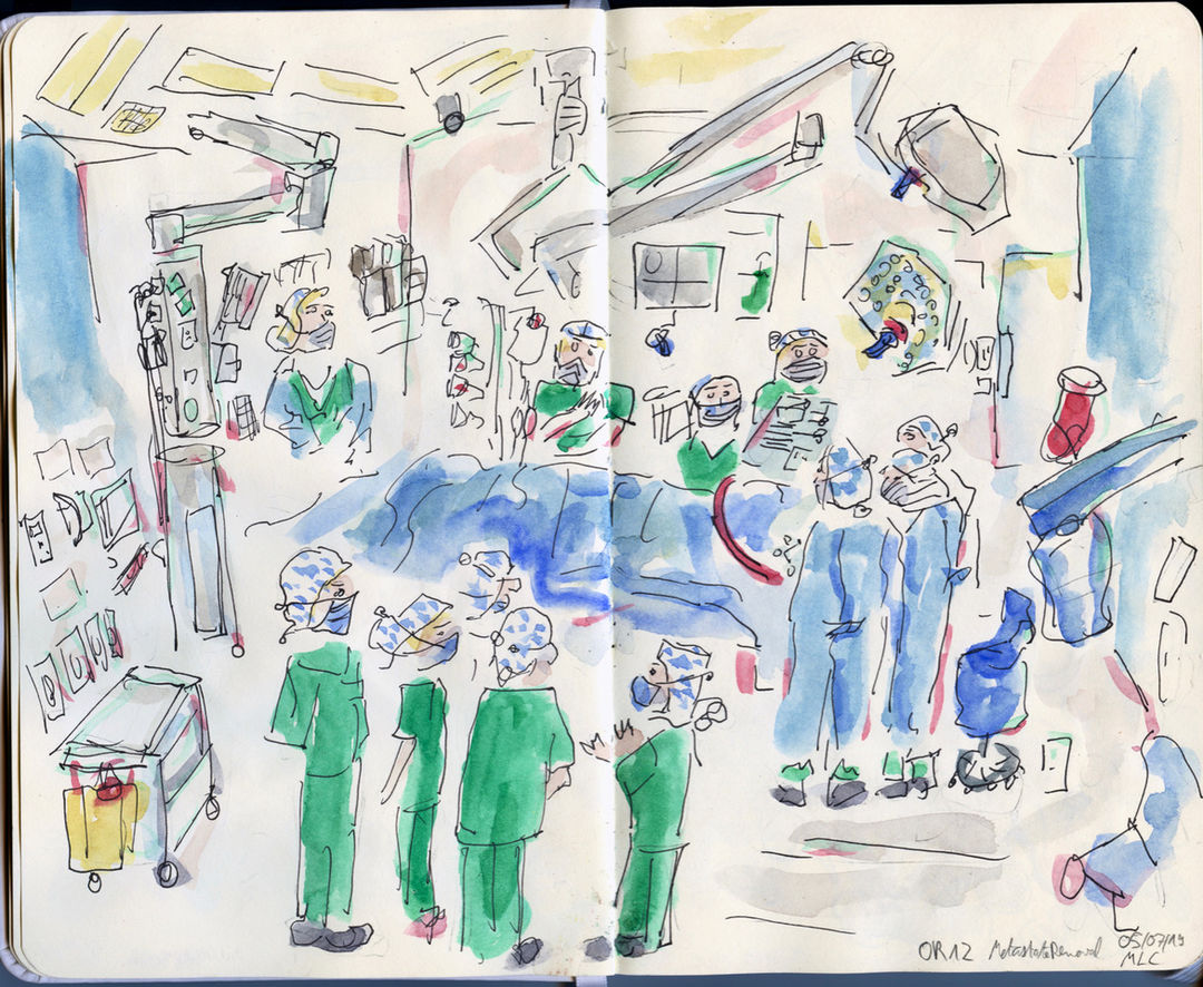 Operation room during neurosurgical operation, scene of the training of the students of the Charité University Hospital.  2019, indian ink and watercolors on paper, 21x26cm. Copyright: Maxime Le Calvé