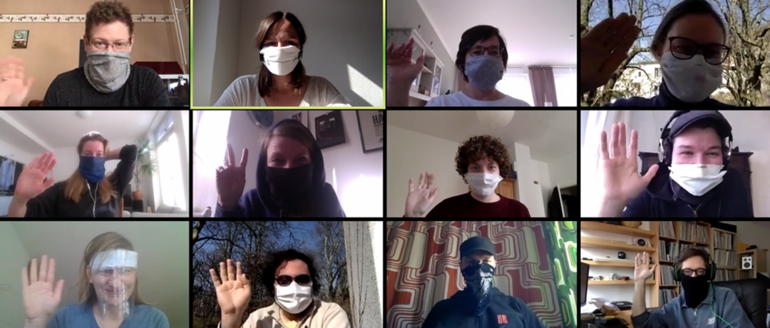 MoA Members wearing masks during the Corona crises. Copyright: »Matters of Activity«