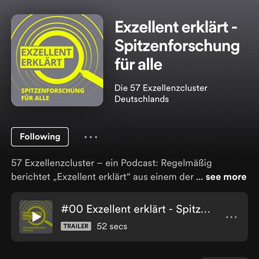 Podcast »Exzellent erklärt – Spitzenforschung für alle«. Copyright: Spotify