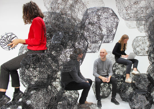 Stone Web – Spatial module system made from basalt fibre at the weißensee school of art and design berlin (Idalene Rapp, Natascha-Katharina Unger, Christiane Sauer). Copyright: weißensee school of art & design berlin, I. Rapp, N. Unger.