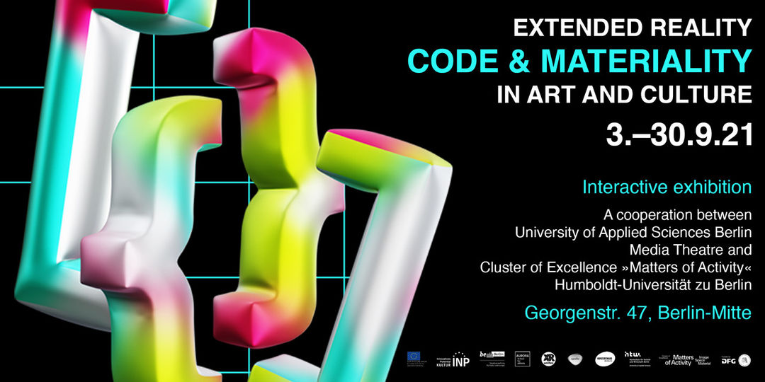 Flyer of Exhibition »Code & Materiality in Art and Culture«. Copyright: University of Applied Sciences Berlin
